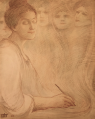 Kahlil Gibran: Portrait of Josephine Preston Peabody, colored pencil on paper, 1904