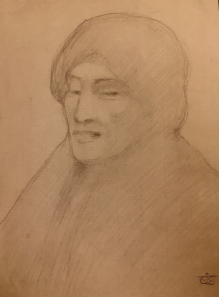 Kahlil Gibran: Portrait, graphite on paper, c1902-1904
