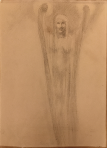 Kahlil Gibran: Female figure, graphite on paper, c1902-1904