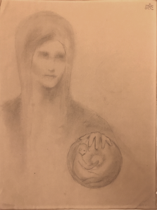 Kahlil Gibran: Female figure with globe, graphite on paper, c1902-1904